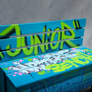 can gallery graffiti bankje writers bench